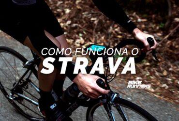 Banner com ciclista em bicicleta utilizando aplicativo em celular e sobre a imagem a escrita como funciona o strava