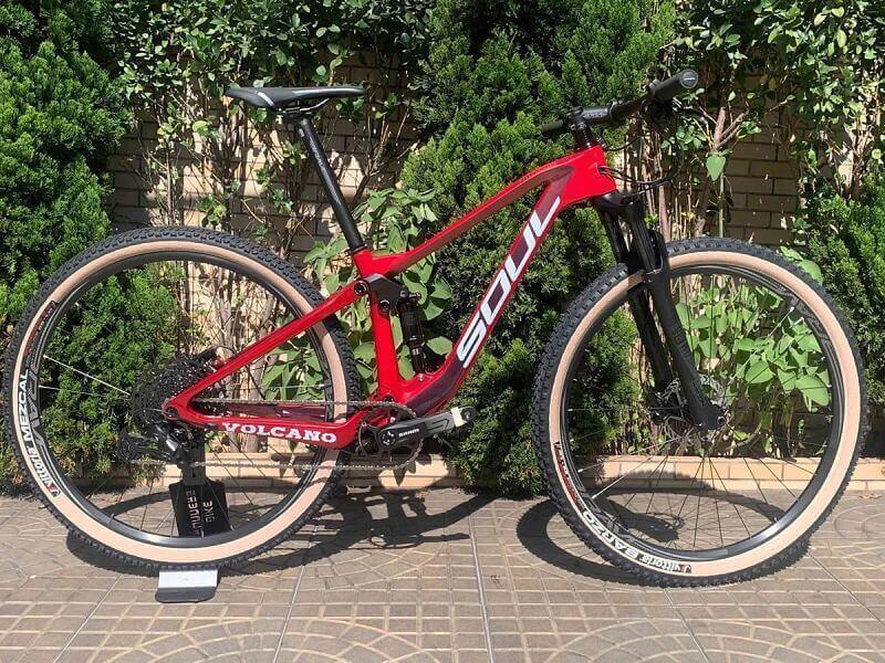 bicicleta soul volcano carbono aro 29 full suspension sram sx eagle customizada