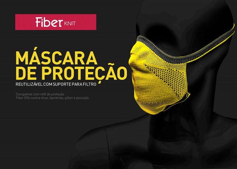máscara de proteção fiber knit amarela tecnologia 3d lavável com filtro