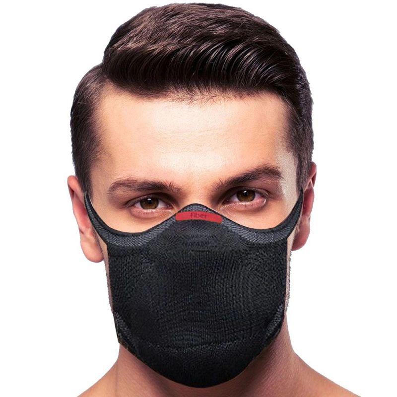 máscara de proteção fiber knit preta tecnologia 3d lavável com filtro   l
