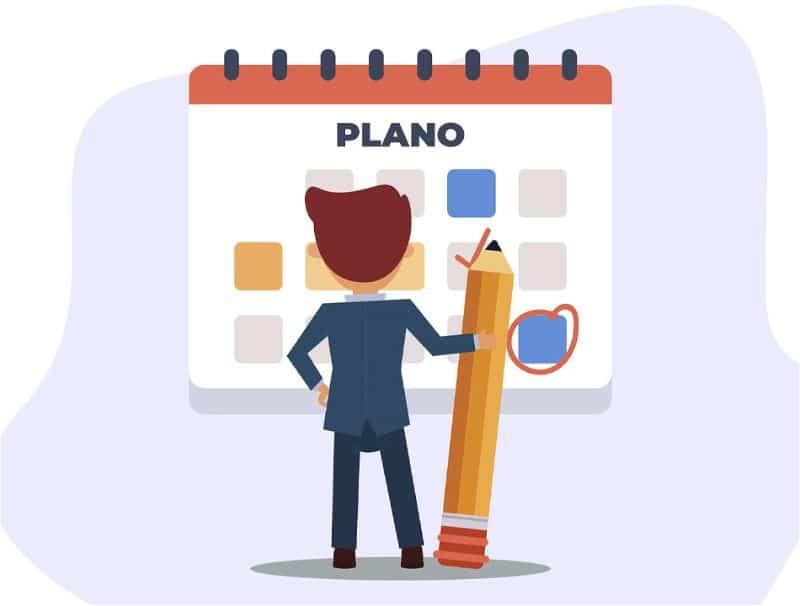 Desenho de homem segurando um lápis gigante olhando para um calendário gigante
