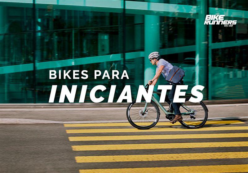 """Banner com ciclista andando em rua, e ao lado escrito """"Bikes para iniciantes"""""""