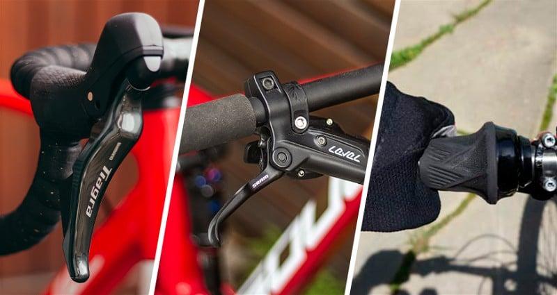 Imagem divida em três partes mostrando detalhadamente o passador de marcha no guidão da bicicleta