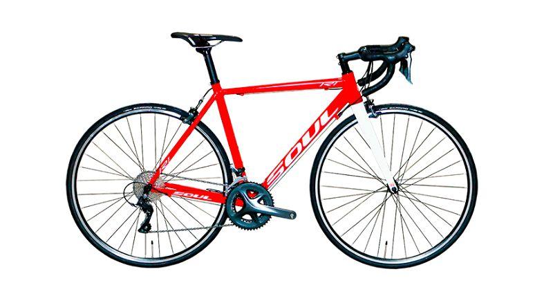 Imagem com fundo branco e ao centro bicicleta vermelha da Soul