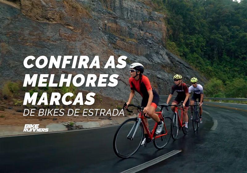 """Banner com três ciclistas um atrás do outro em estrada subindo serra e ao lado as escritas """" Confira as melhores marcas de bikes de estrada"""""""