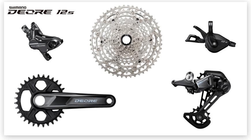 Imagem com fundo branco mostrando as peças do grupo de Mountain Bike Shimano Deore de 12 velocidades