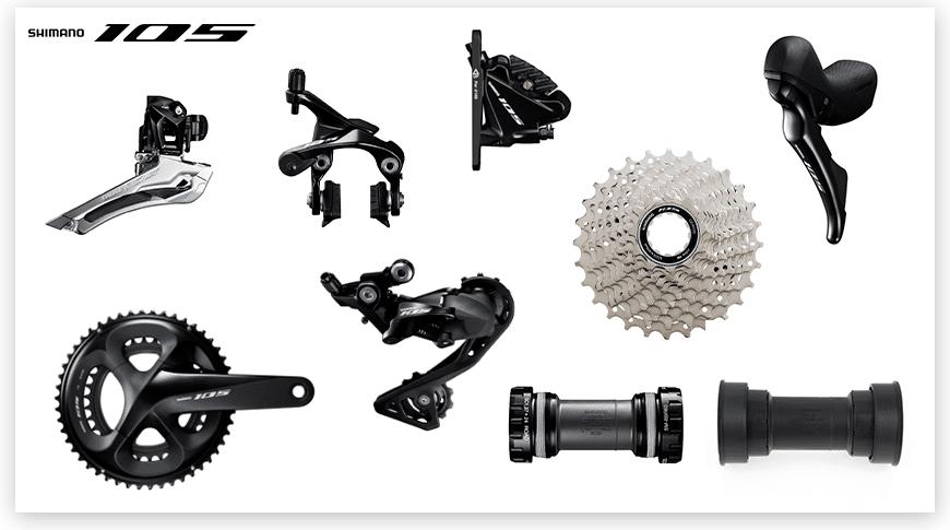 Imagem com fundo branco com as peças do grupo Shimano 105 de ciclismo de estrada