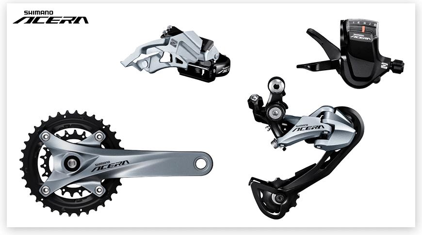 Imagem com fundo branco mostrando as peças do grupo Shimano Acera de Mountain Bike