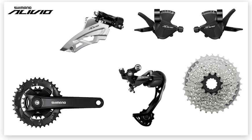 Imagem com fundo branco mostrando as peças do grupo Shimano Alivio de Mountain Bike