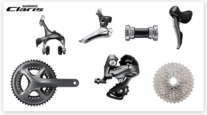 Imagem com fundo branco mostrando as peças do grupo Shimano Claris de ciclismo de estrada