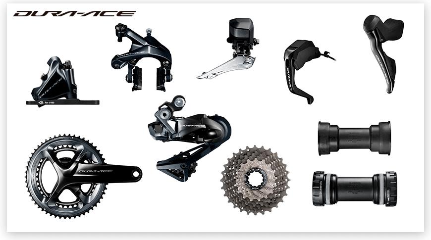 Imagem com fundo branco mostrando as peças do grupo Shimano Dura-ace de ciclismo de estrada