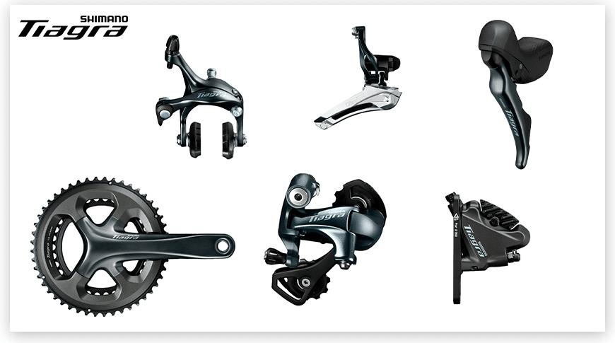 Imagem com fundo branco mostrando as peças do grupo Shimano Tiagra de ciclismo de estrada