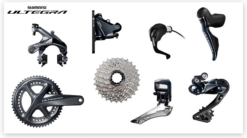 Imagem com fundo branco mostrando as peças do grupo Shimano Ultegra de ciclismo de estrada