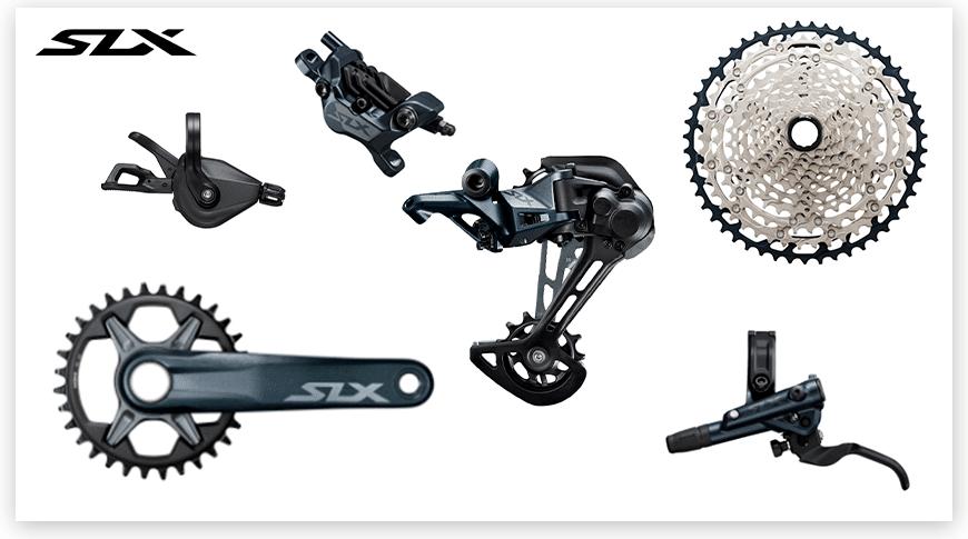 Imagem com fundo branco mostrando as peças do grupo Shimano SLX de Mountain Bike