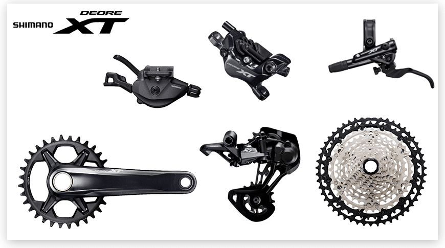 Imagem com fundo branco mostrando as peças do grupo Shimano XT para Mountain Bike