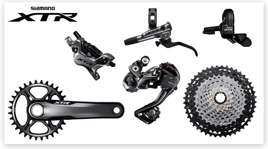 Imagem com fundo branco com as peças do grupo Shimano XTR de Mountain Bike